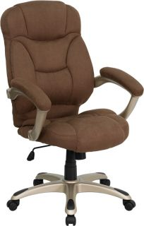 NEW BROWN MICROFIBER FABRIC EXECUTIVE HIGH BACK HOME OFFICE DESK