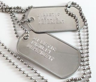 Insulin Dependent Necklaces Medical ID Alert Military Dog Tags