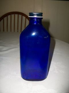 Phillips Milk of Magnesia Glass Bottle Blue w Lid GUC