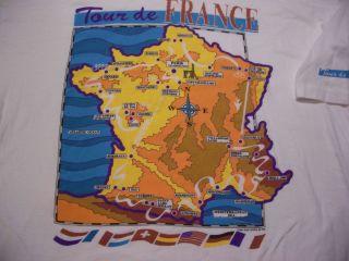 DE FRANCE ROUTE MAP VINTAGE T SHIRT ADULT XL VERY RARE MIGUEL INDURAIN