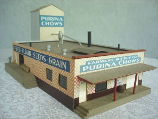 Purina Chows Farmer Supply Co Factory Mill Building HO Scale Train