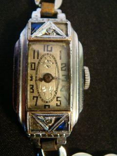 Vintage 1930s Art Deco Milos 14k Rolled Gold Watch w Sapphires