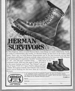 1975 Vintage Ad Herman Survivors Shoes and Boots Millis MA
