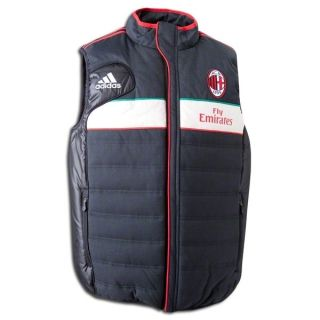 New Mens Adidas AC Milan Soccer Hooded Padded Ves Foobal Jacke