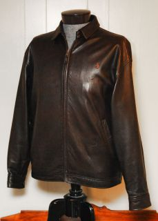 Polo Ralph Lauren Soft Leather Jacket Brown Mens Large