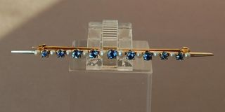 Estate Antique Victorian Ceylon Sapphire Pearl Yellow Gold Bar Pin 2 5