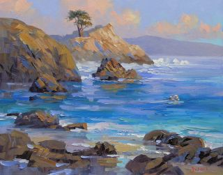 Mikki Senkarik Original Oil Painting Carmel Lone Cypress Sea Otter