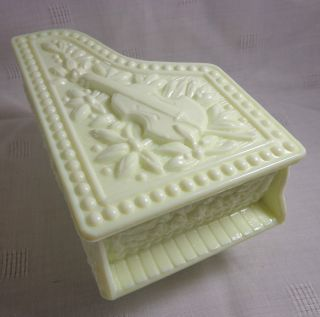 Milk Glass Piano Trinket Box