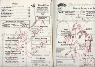 Art One of A Kind Brazos Club Baker Hotel Mineral Wells TX Menu