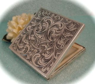 Vintage Floral Etched 800 Sterling Silver Mirror Powder Compact