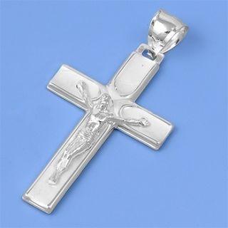 MENS STERLING SILVER CROSS PENDANT CRUCIFIX RELIGION JESUS 24 INCH