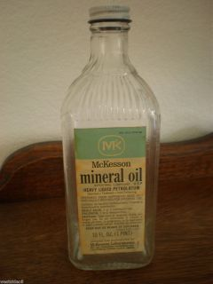 Vintage McKesson 16 oz Mineral Oil Bottle Medicine Jar Apothecary