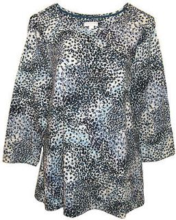Club  Blue Brown Animal Print Top Womens Plus Size 0X 1X 2X 3X