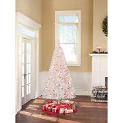 Artificial Prelit White Christmas Tree Multi Lights 600 Tips/ New