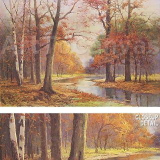 36x24 AUTUMN GLADE by ROBERT WOOD TRANQUIL COLORFUL FALL SCENE BY