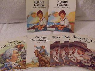 Set of 7 biography readers gr 4 8Robert E Lee,George Washington,Mar k