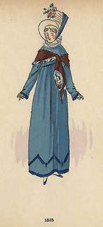 Hand Colored French Fashion Plate (Nearly 100 Years Old) Showing