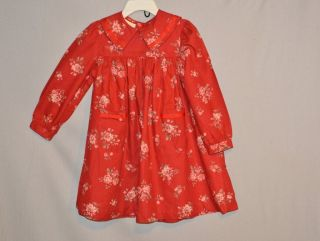 LAURA ASHLEY MOTHER AND CHILD Red Floral Cotton Dress Size 2.5 3 Years