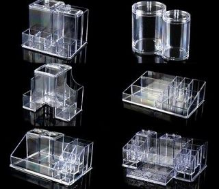 pink clear acrylic makeup cosmetic train case tray kit box