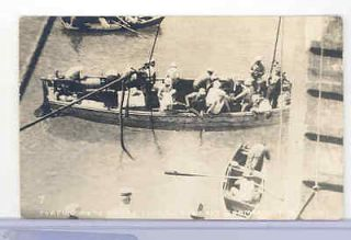 Navy Sailors, RPPC, Hard Hat Diver, Submarine F 4, Honolulu, Hawaii, 4