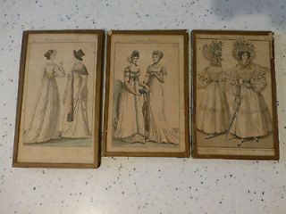 MID 1800S FRAMED FASHION PLATES FRENCH HAND COLORED FASHIONS PARIS