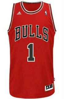 Derrick Rose #1 Chicago Bulls Swingman Jersey Mens Red Away by Adidas