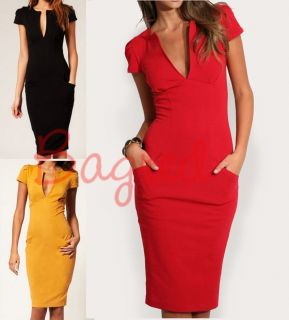 Sexy Pencil Dress with Pockets Variable Sizes Colours NEW (105)