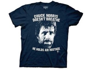 NEW Blue Chuck Norris Holds Air Hostage T Shirt SMALL Mens Funny Facts
