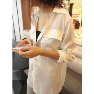 Womens European Silk Blouse Shirt Long Sleeve Pockets Button Top White