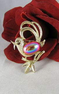Newly listed Vintage Gold tone Red Jelly Belly Bird Brooch Pin CAT
