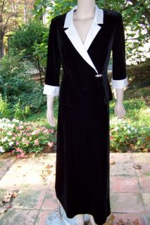 ALEX EVENINGS S PLUSH BLACK VELVET/WHITE SATIN TOP/LONG SKIRT TUXEDO