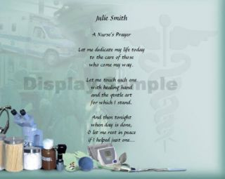 Nurse Nursing Prayer Personalized Poem Graduation Gift