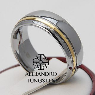 Alejandro Tungsten Carbide Ring 18K Gold Inlay Elegant Wedding 8MM