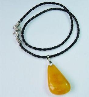 Vintage Baltic Amber Pendant Black Leather Braid Mens Necklace