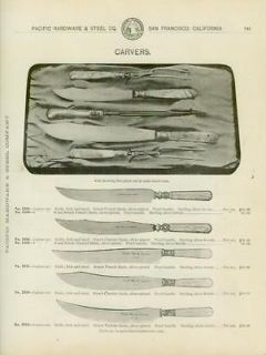 Catalog Page Ad Knife Carving Sets Silver Plate Stag Bone Handles