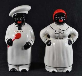 Black Americana Porcelain Large White MAMMY Range Spice Salty & Peppy