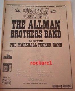 ALLMAN BROTHERS 1973 European Tour Large Poster size ADVERT