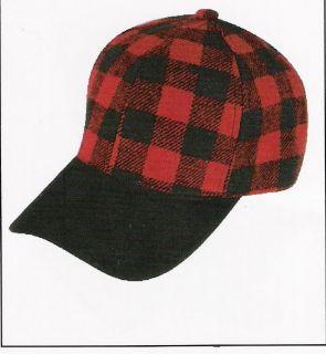 NEW BUFFALO PLAID ELMER FUDD BLACK SUEDE BILL CAP HAT