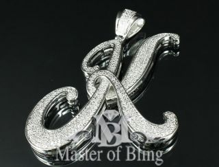 MENS NEW ICED OUT CURSIVE INITIAL LETTER K PENDANT HIP HOP HEAVY CHARM
