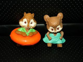 ALVIN AND THE CHIPMUNKS FIGURE TOYS LOT~CAKE TOPPER THEODORE & ELEANOR