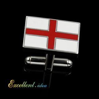 Buy 5 Get 1 Free RED CROSS ENGLISH FLAG WHT ENAMEL SILVER TONE WEDDING