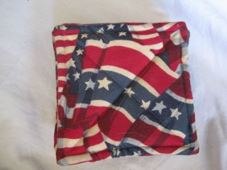 Primitive Style Fabric Red White & Blue Flag Country Coasters set