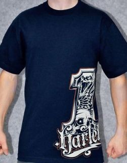 Harley Davidson Mens Allegiance #1 Deep Navy Blue Short Sleeve T Shirt
