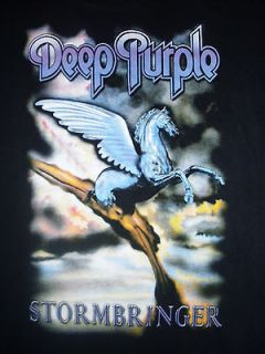 Deep Purple T Shirt Stormbringer Black Large 60s 70s Hard Rock Music