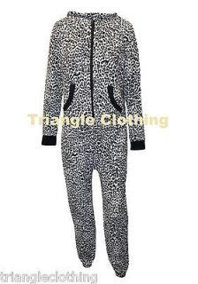 Ladies Womens Leopard Print Onesie Jumpsuit Towel Fabric All In One