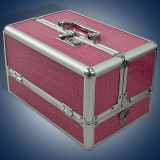 Pink Makeup Cosmetic Aluminum Storage Case Box w Tiers Lockable