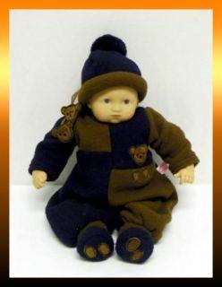 Gotz BABY BOY 13 Doll Wearing a Fleece TEDDY BEAR Suit GERMANY #465