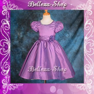 Purple Wedding Flower Girls Short Sleeves Dresses Pageant Party Size