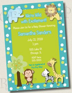 Printed Invitations JUNGLE ANIMAL BABY SHOWER BIRTHDAY PARTY MONKEY