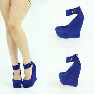 ROYAL BLUE SUEDE ANKLE CUFF MARY JANE HIGH HEEL PLATFORM WEDGE SANDAL